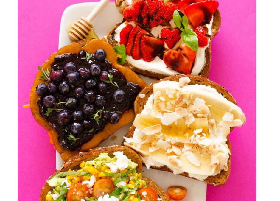 A Heart Healthy Breakfast of Toast with fresh fruit and salsa toppings