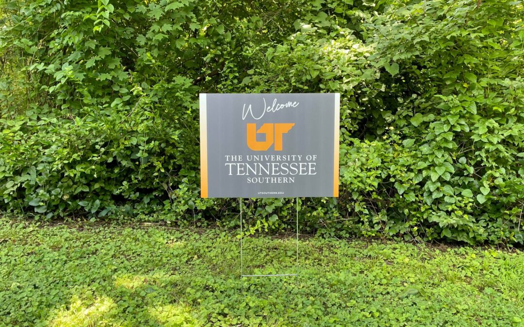 Photo of a yard sign that says Welcome UT University of Tennessee Southern